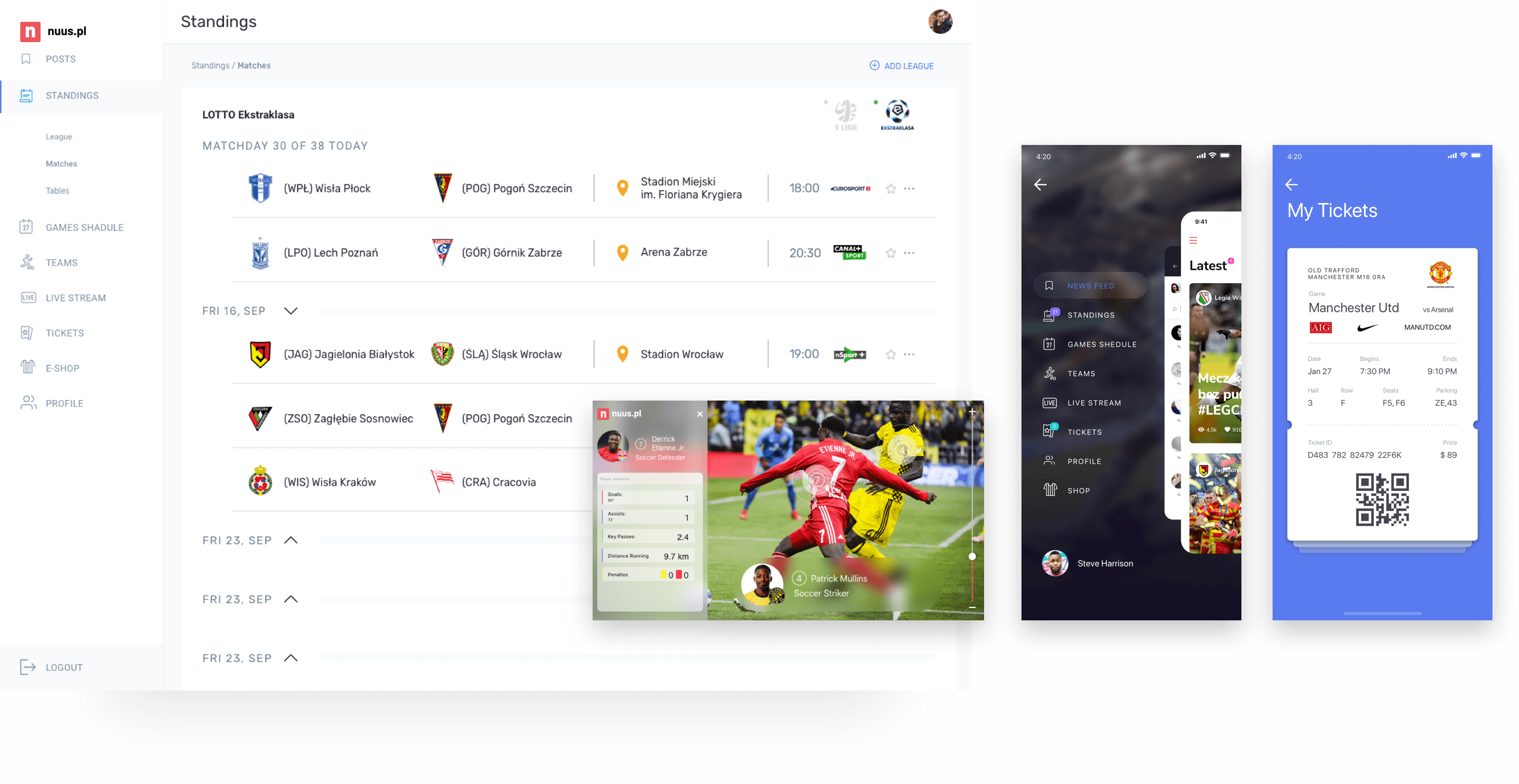 Nuus - CMS for sports industry